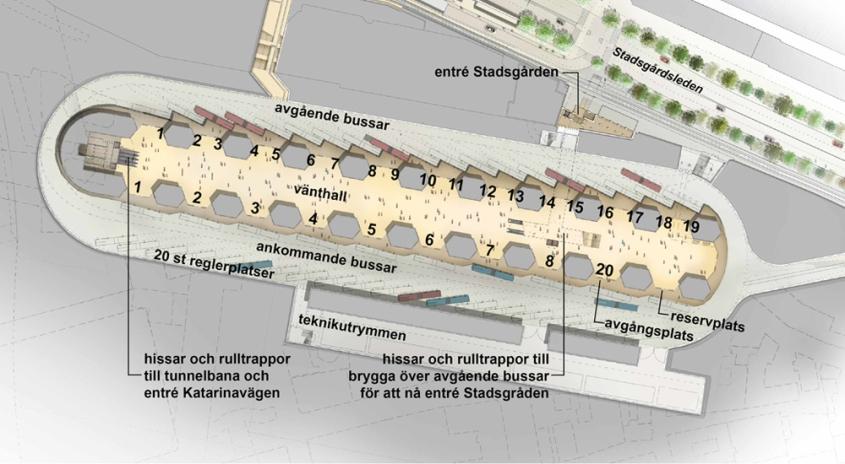 Den nya bussterminalen i Katarinaberget, Slussen (Bild: Stockholms stad)