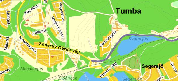 K P Arnoldssons väg från Tumba bruk och Söderby gårds väg till kommungränsen.