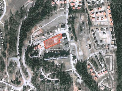 Söderby Park med äldreboendet markerat vid Söderby Torgs Allé.