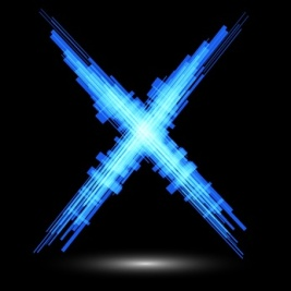 Blue letter X on a black background. Raster