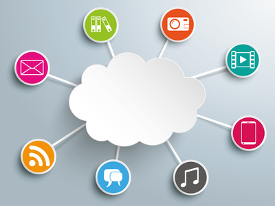 Infographic design with cloud computing on the gray background. Eps 10 vector file.