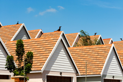 Close up detail of town house rooftops against blue sky.