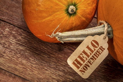 pumpkin with Hello November paper price tag - fall holiday concept