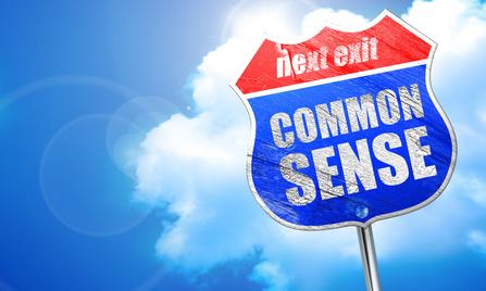 common sense, 3D rendering, blue street sign